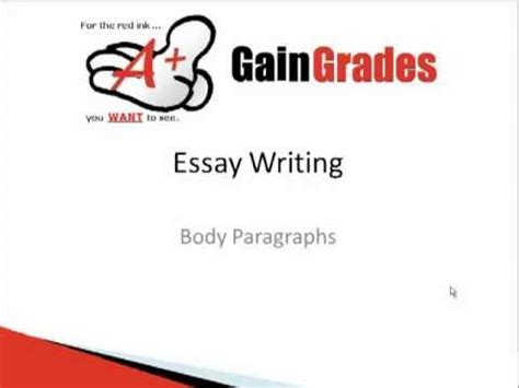 Body paragraph of essay